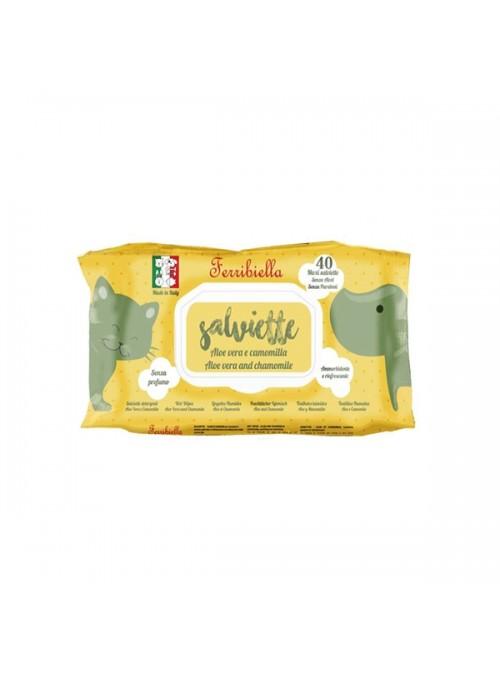 FERRIBIELLA TOALHETES HÚMIDOS ALOE VERA E CAMOMILA - 40 unidades - IGN50ALO