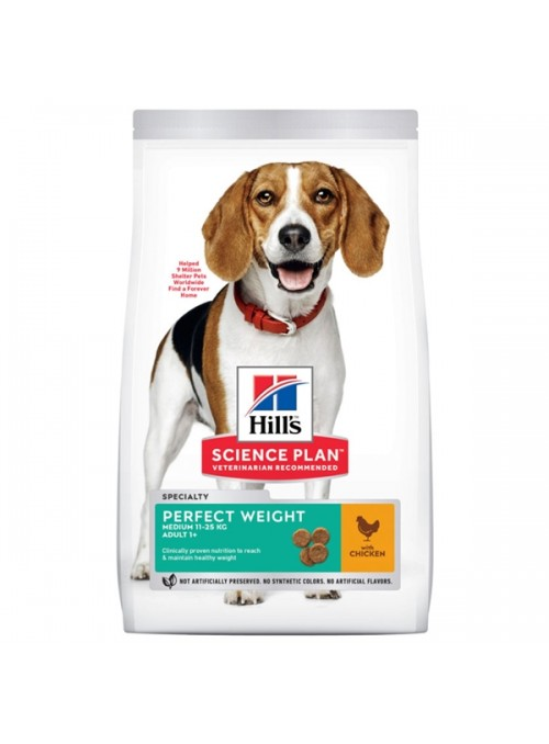 HILLS SCIENCE PLAN DOG ADULT MEDIUM PERFECT WEIGHT - 12kg - HPW2146