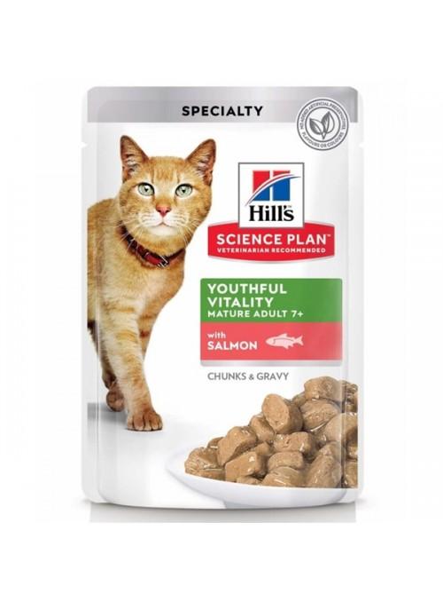 HILLS SCIENCE PLAN CAT 7+ YOUTHFUL VITALITY SALMON - SAQUETA - 85gr - HSQ78