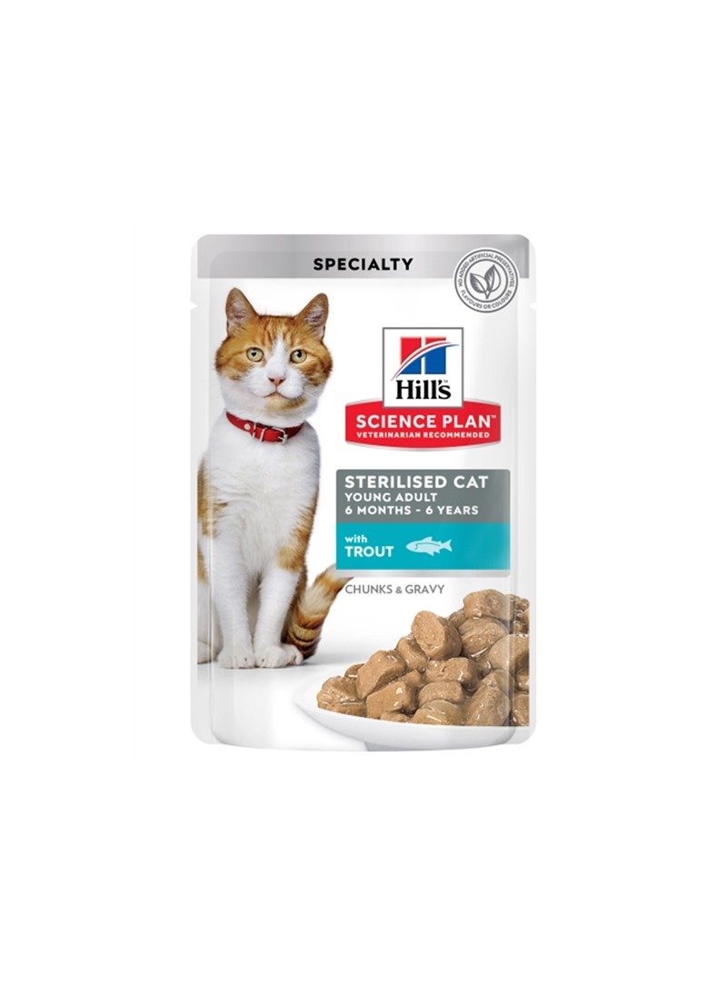 HILLS SCIENCE PLAN CAT YOUNG ADULT STERILISED TROUT - SAQUETA - 85gr - HSQ61