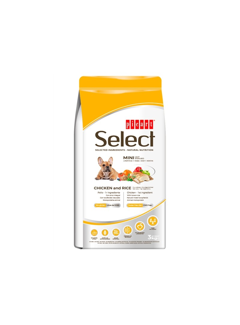 PICART SELECT DOG ADULT MINI LIGHT/STERILISED CHICKEN - 3kg - P52223
